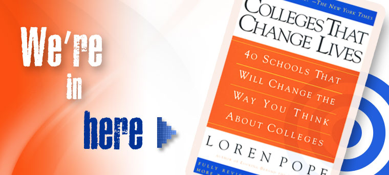 "Graphic of ""Colleges That Change Lives"" book"