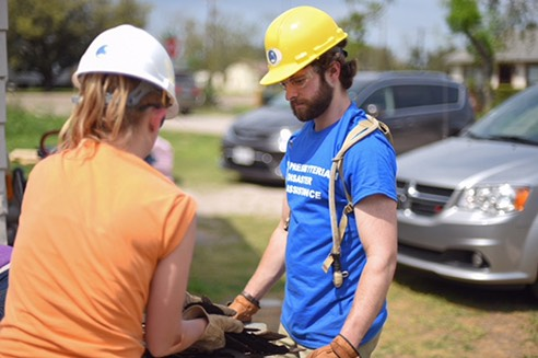 A Juniata students works to rebuild Corpus Christi.